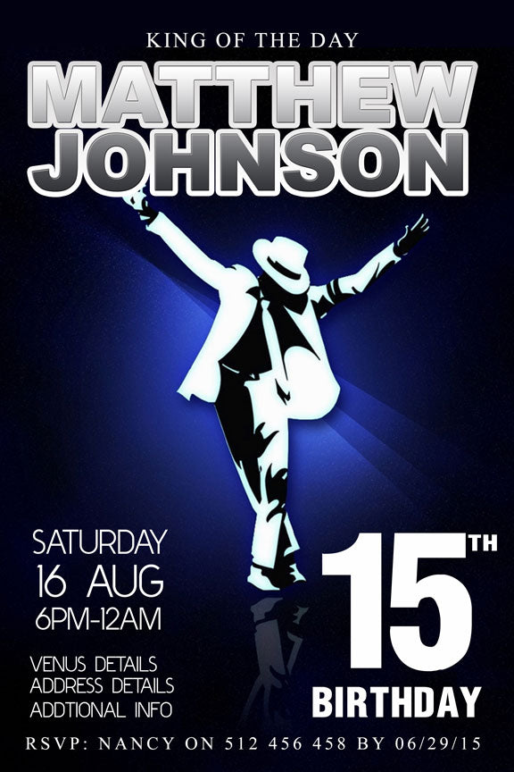 Michael Jackson birthday party invitation,