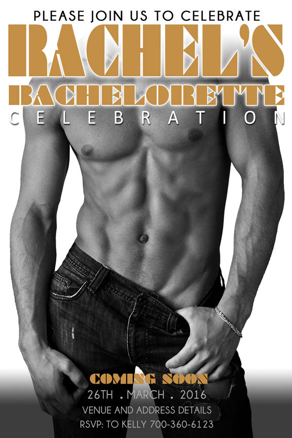 sexy magic mike bachelorette party invitation, magic men, magic mike hens night invite