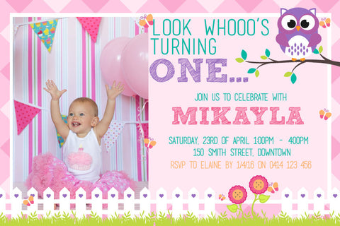 Girl's 1st Birthday Invitation - Look Whooo's