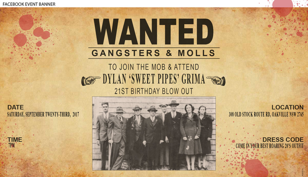 gangster mafia wanted poster birthday party invitation,