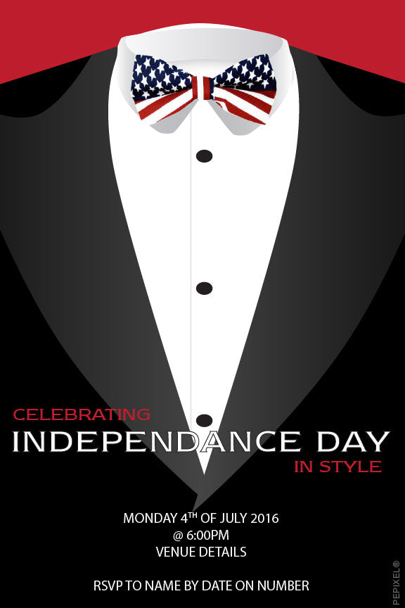4th of July tux party invitations,  Independence day invitations,