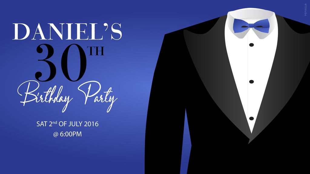 Blue with black tux birthday invitations, black tuxedo invitations,