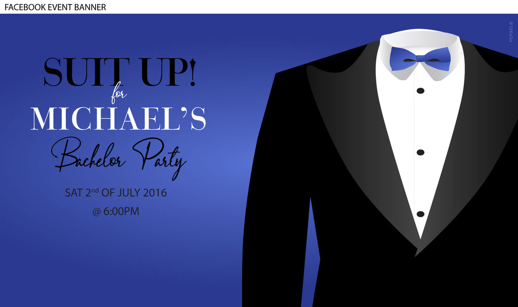 Bachelor and bucks party invitation with black tuxedo Facebook event image