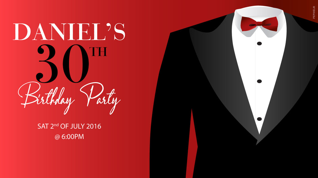 Red with black tux birthday invitations, red tuxedo invitations,