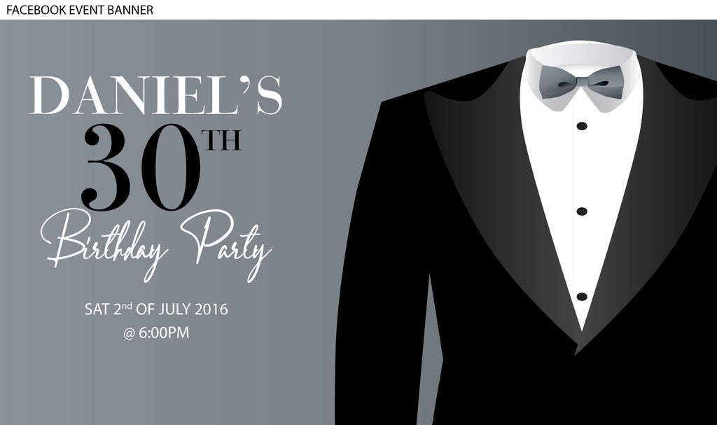silver with Black tux birthday invitations, black tuxedo invitations,