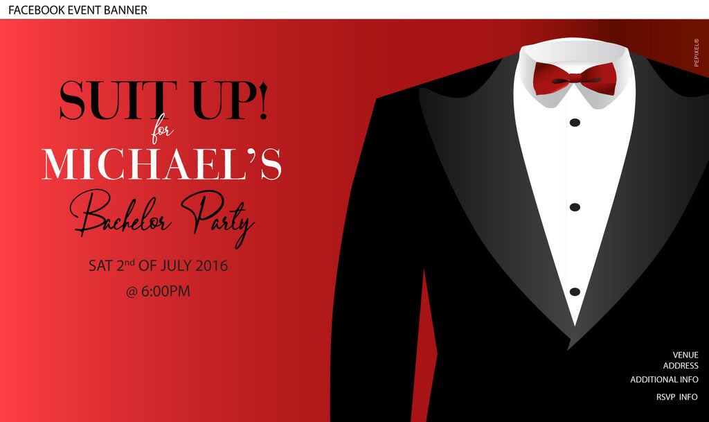 Bucks Party Invitations, Bachelor Tuxedo Invitation  - Suit Up Tux