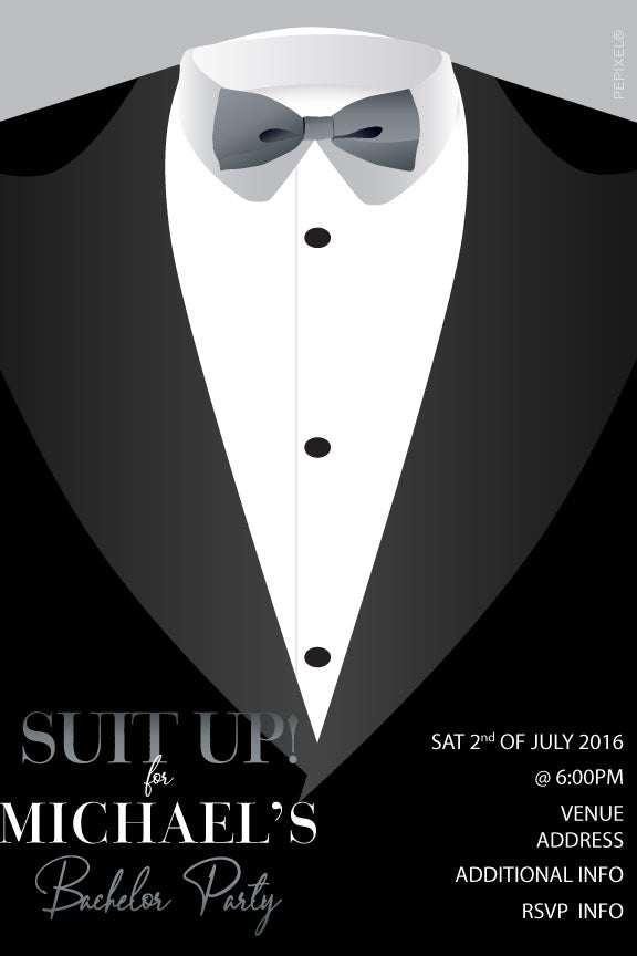 Bachelor and bucks party invitation with black tuxedo