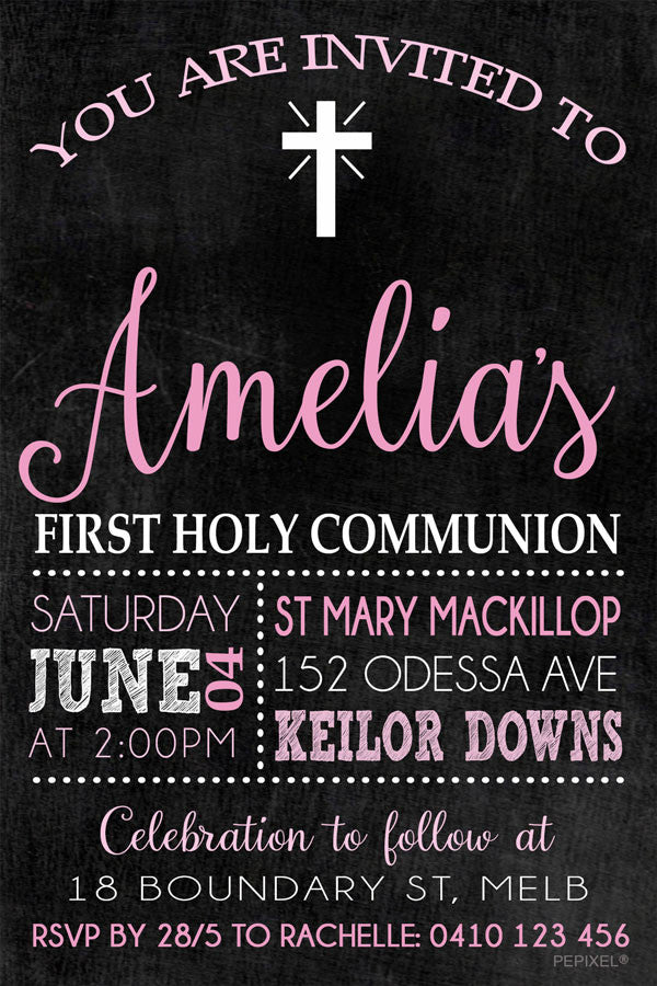 Blackboard communion invitation for girls, blackboard confirmation invitation for girls