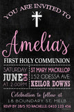 Communion and Confirmation Digital Printable Invitation,  - (Pink) Holy Chalkboard