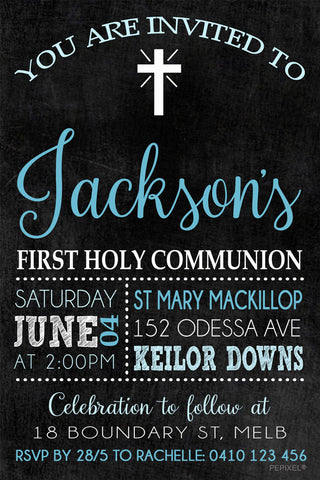 Communion and Confirmation Digital Printable Invitation, - (Blue) Holy Chalkboard