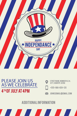 4th of July birthday party invitations,  4th July uncle sam's hat party invitation, patriotic party invitation,