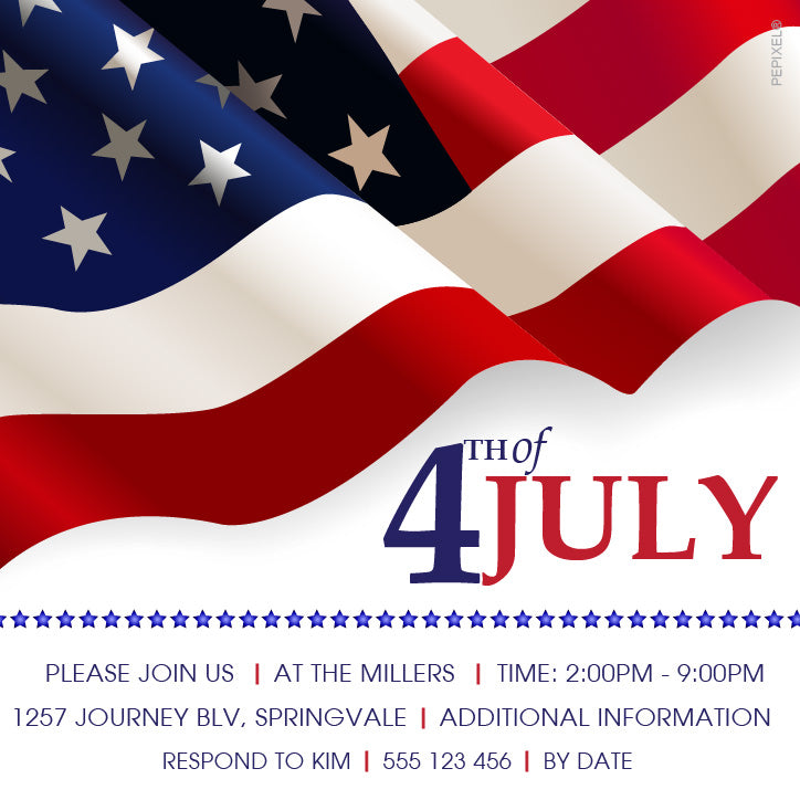 4th of July birthday party invitations,  4th of July american flag party invitation,