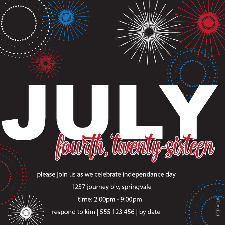 4th of July birthday party invitations,  4th July party invites, fireworks patriotic party invitation,