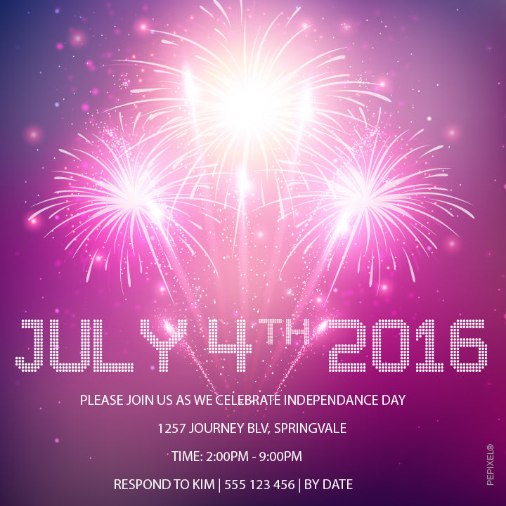 4th of July fireworks party invitation,