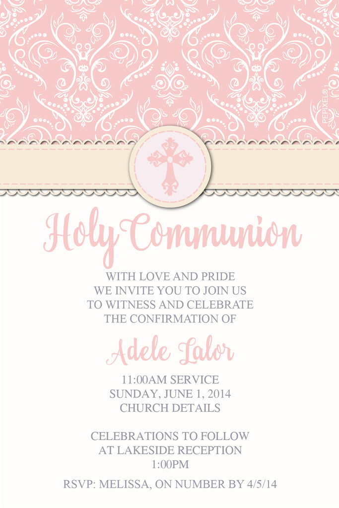 pink floral confirmation invitation for girls, pink floral communion invitation for girls,