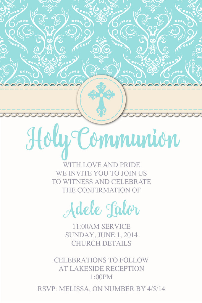 Teal green communion invitation for girls, teal green confirmation invitation for girls,
