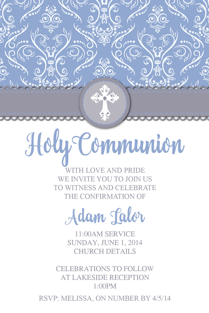 Blue and grey confirmation  invitation for boys, Blue and grey holy communion invitation for boys,