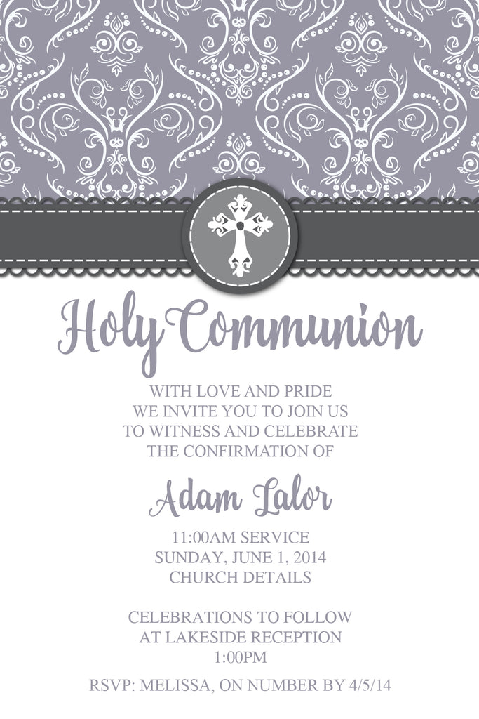 grey confirmation  invitation for boys,  grey communion invitation for boys,