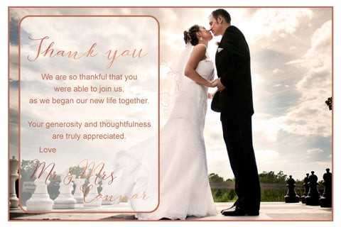 wedding rose gold thank you photo card,
