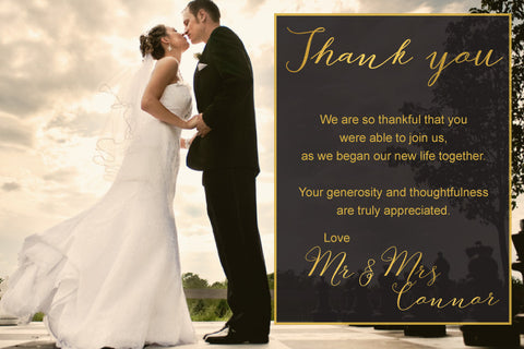 wedding with gold thank you photo card with message,