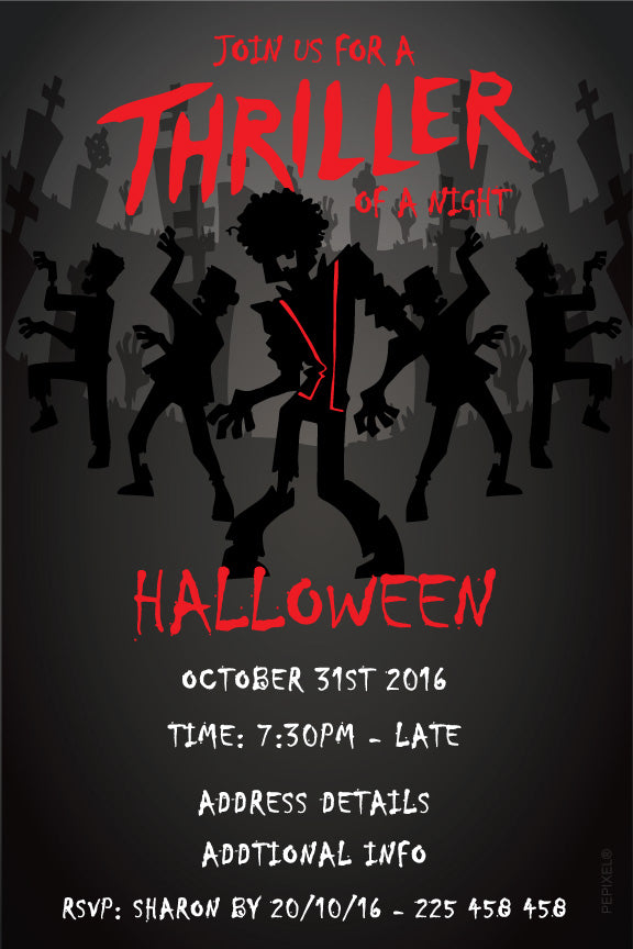 Thriller Halloween party invitation