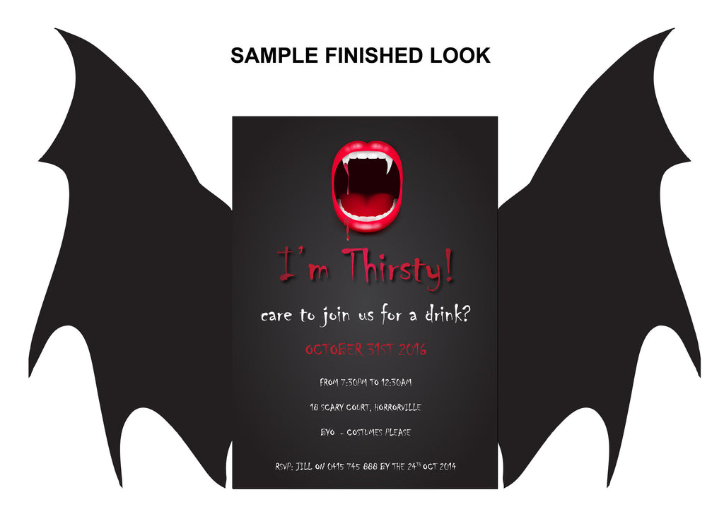 Halloween birthday invitations, Halloween vampire party invitations,