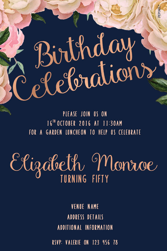 Navy and pink floral birthday invitation, Pink floral party invitation,