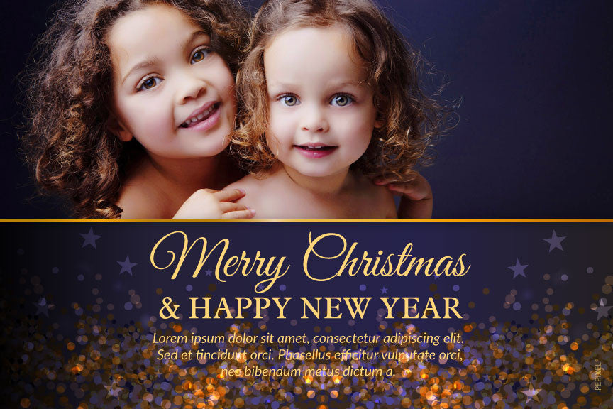 Christmas photo card,  holiday greeting cards photo,  gold and blue glitter with photo holiday Christmas greeting card,