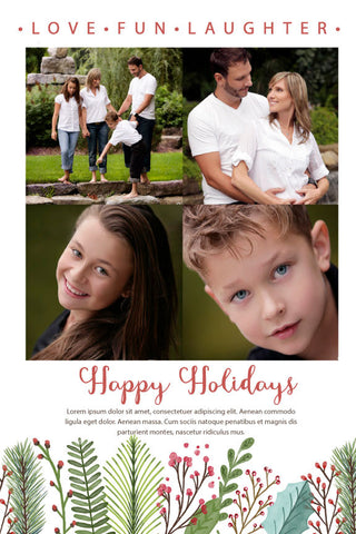 Christmas photo card,  holiday greeting cards photo,  floral  with photo holiday Christmas greeting card,