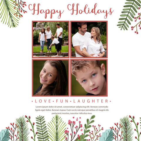 holiday greeting cards photo, Christmas photo card, floral holiday Christmas greeting card with photos,