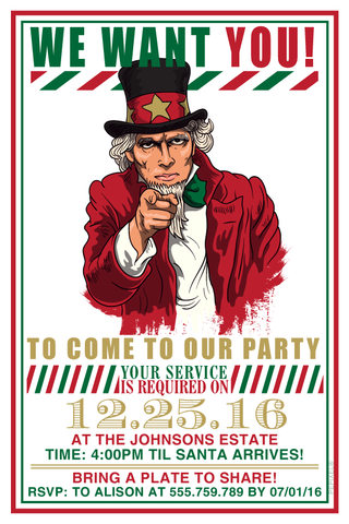 holiday cards, Christmas card, Uncle Sam Christmas party invitation,