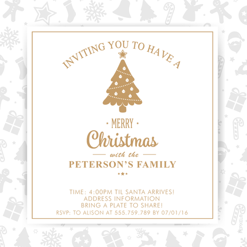holiday cards, Christmas card, white and gold Christmas party invitation,