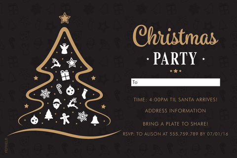 holiday cards, Christmas card, black and gold Christmas party invitation,