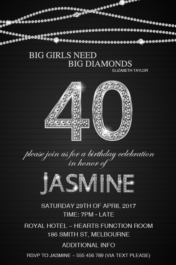 Black with diamonds birthday invitations, Black and silver diamond number invitation,