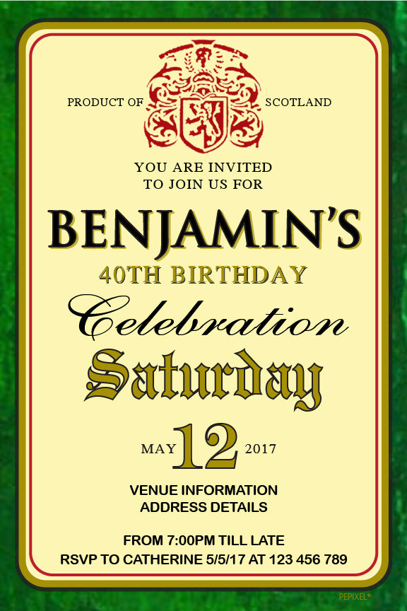 Buchanan's Scotch Whisky birthday invitation, Buchanan's Scotch Whisky label party invitation,
