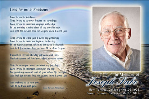 Memorial card templates funeral cards in rainbows for Funeral remembrance cards template