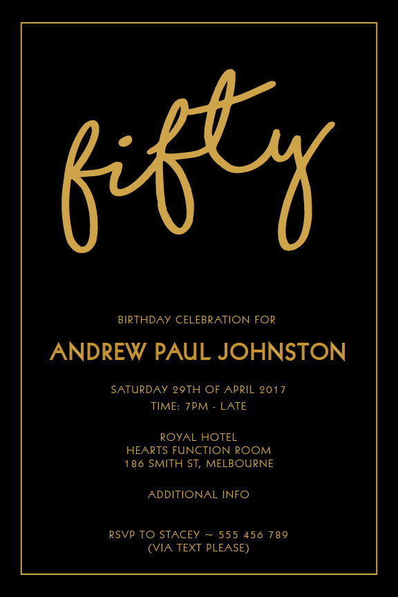 Simple plain black and gold birthday invitation, black and gold party invitation