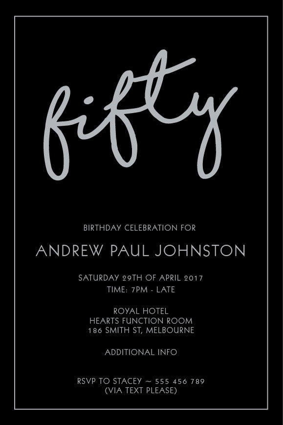 Simple plain black and silver birthday invitation, black and silver party invitation