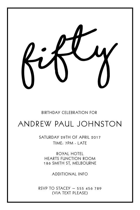 Simple plain white birthday invitation, white party invitation