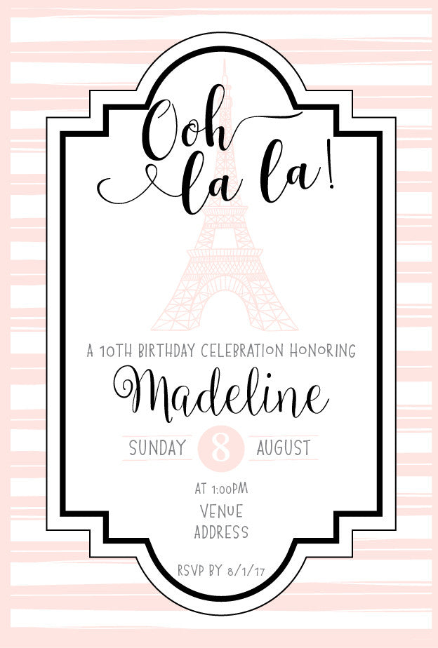 pink Paris birthday party invitations,
