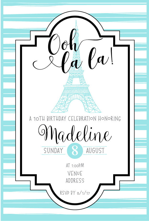 Blue Paris birthday party invitations,