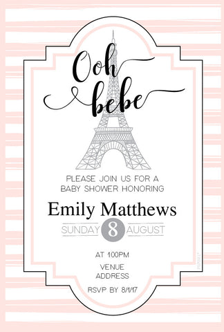 pink Paris baby shower invitations,