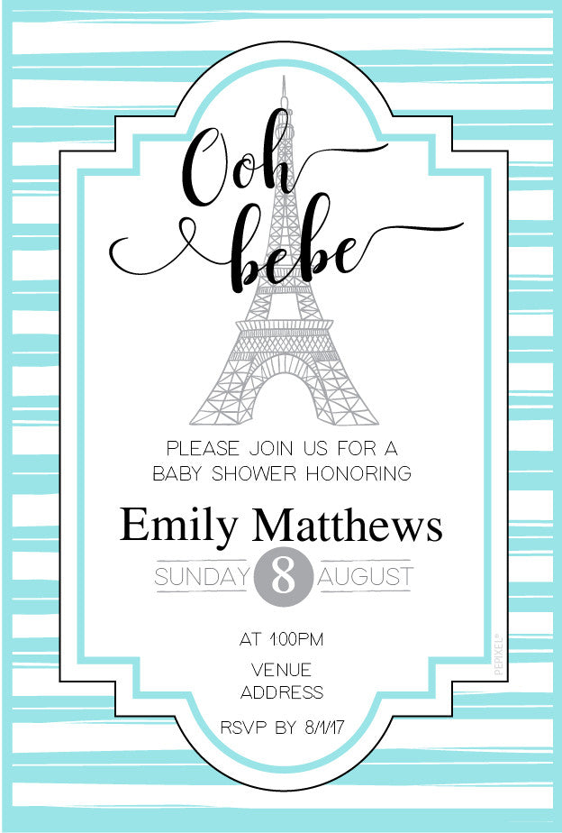 blue Paris baby shower invitations,