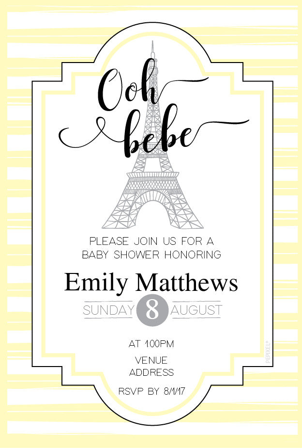 Yellow Paris baby shower invitations,