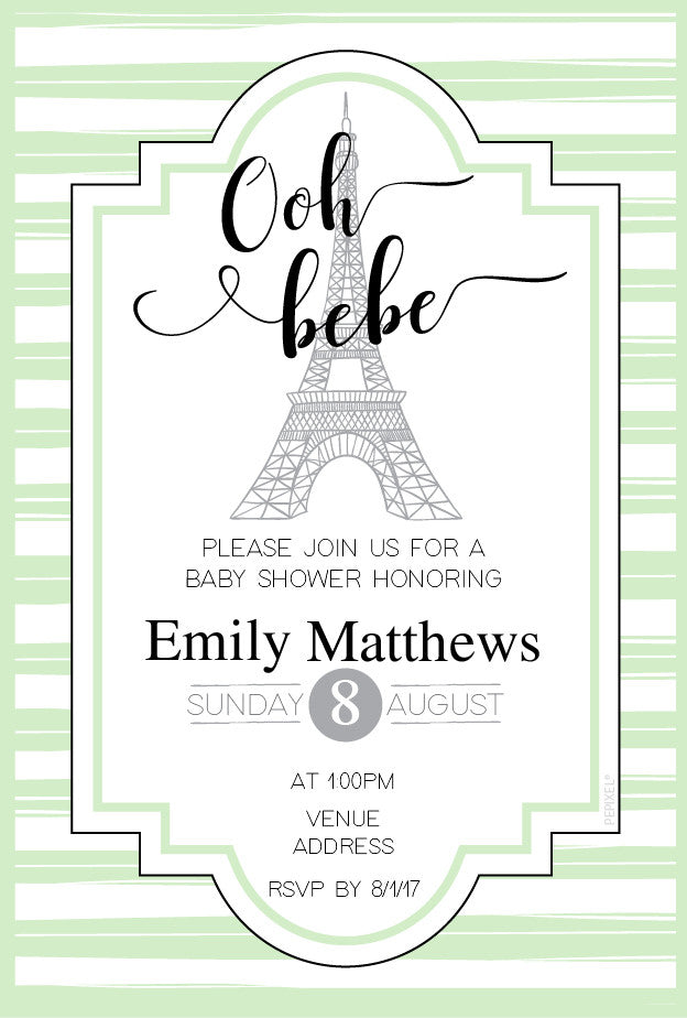 Green Paris baby shower invitations,