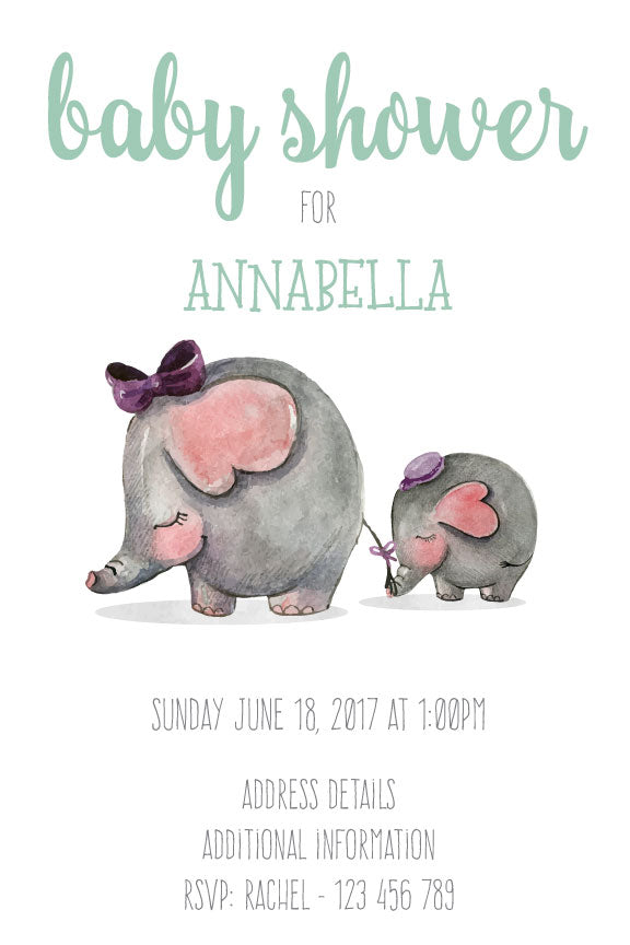 baby shower invitation for boy,  baby shower invitation with baby elephant for a boy