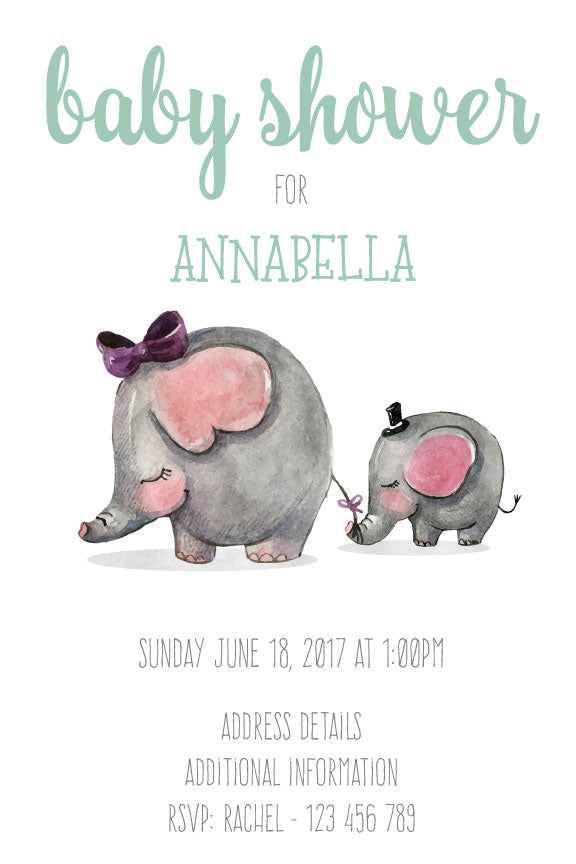 baby shower invitation for girl,  baby shower invitation with baby elephant for a girl,