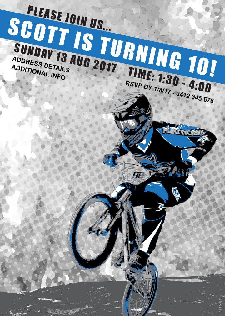 BMX birthday invitation, Blue birthday invitation with bike,