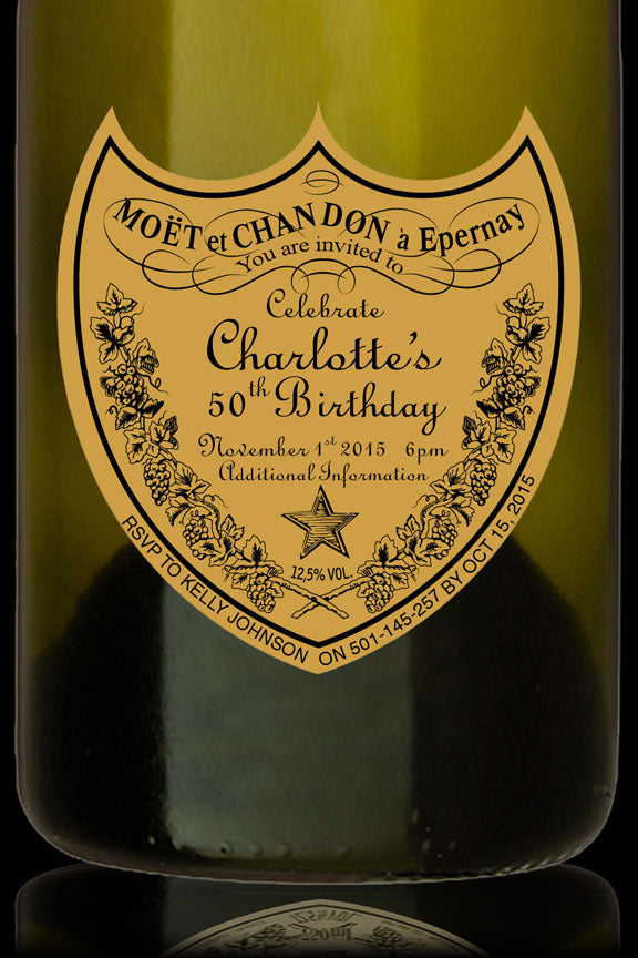 Don Perignon wine label birthday invitation, Don Perignon party invitation,