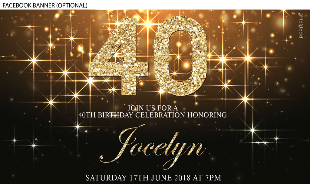 Gold and diamond number birthday invitation, bedazzled gold invitation, sparkly gold invitation